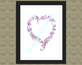 Swirling Heart, Wall Art, Digital Download, Digital Wall Art, Valentine's day, Gift for Sweetheart, Download, Heart, Scrapbooking