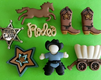 HOWDY PARTNER - Cowboy Sheriff Rodeo Texas Horse Boots Dress It Up Craft Buttons