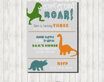 Dinosaur Birthday Invitation - Printable Invitation