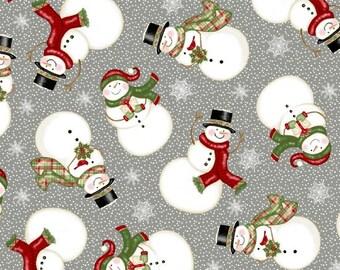 Christmas Fabric - Snowman - Winter Greetings Sharla Fults Studio E Fabrics - 4215 90 Gray - Priced by the half yard
