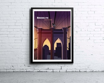 Brooklyn Bridge Illustration Print, Poster, Art, Wall Art, Typography