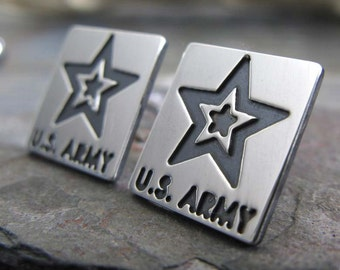 Army military stud earrings.  Sterling Silver handmade jewlery. Duty, Honor, Country. Army of One. Solider Brothers in Arms. Military wife.