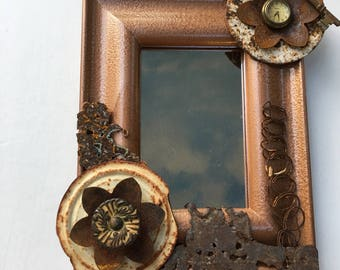 Bronze Mirror Rusty Found Metal Mixed Media Assemblage