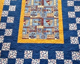 "Nautical Handmade Lap Quilt, Quilted Throw, Modern Quilt for Sale, Quilted Sofa Throw, Homemade Quilt - Ready to Ship –62-1/2"" x 55"""