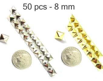50 pcs - 5/16 po (8 mm). Nailheads taches Pyramid Studs - 2 broches (2 cuisses) Square Stud Spike - pour le bricolage sac, chaussures, sur la mode des vêtements