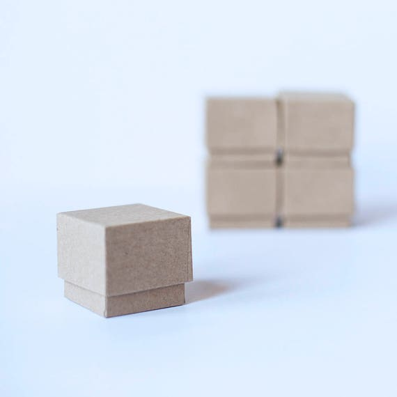 """Ring Boxes Kraft Brown w/ foam ring insert -  2"""" x 2"""" x 1-3/8"""" tall -   1 SAMPLE Box"""