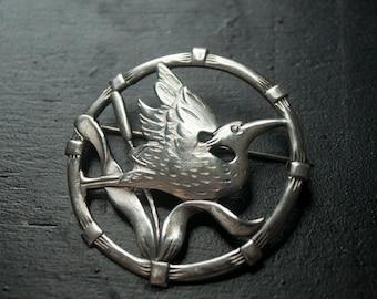 Vintage Sterling Silver BRKS Waterbird Brooch