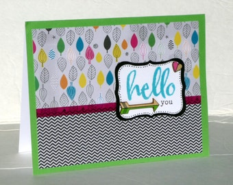 Hello Friend Greeting Card - Handmade Paper Card for Birthday, Thinking of You or Just Because, All Occasion Card