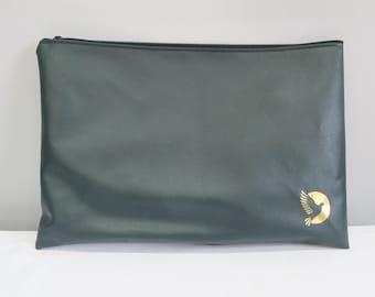 Pochette portable vert, dossier de stockage de papier simili cuir