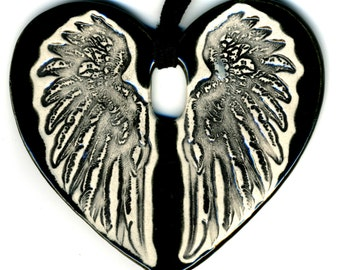 Cloaked Wing Heart Ceramic Necklace in Black