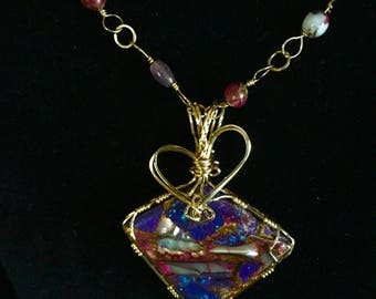 Purple Mohave Turquoise Abalone and Bronze 14 Kt Gold Filled Pendant
