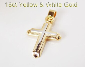 18ct 750 Two Tone White and Yellow Gold Crucifix Cross Pendant