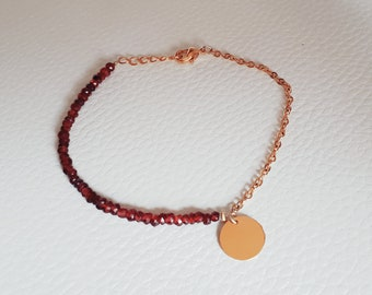 Stainless bracelet Garnet gold plated clasp