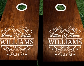 Wedding cornhole decals customized with names and date .  DIY corn hole decals for his and hers cornhole design.