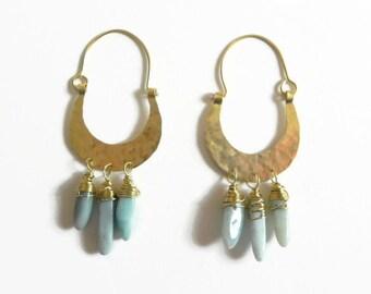 Mexican Tribal beaded hoop earrings, metalwork chandelier gemstone earrings, tribal jewelry