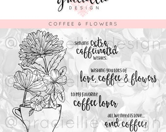 Coffee & Flowers Digital Stamp Set