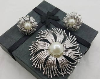 Butler Canada Brooch and Clip Earrings Signed Vintage with Bale and Chain Silver tone