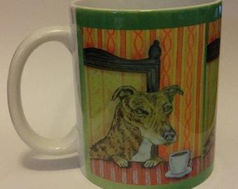 25% off greyhound at the coffee shop cafe dog art mug cup 11 oz dog art mug cup 11 oz gift