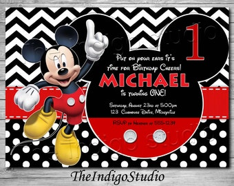Ace birthday invitation playing card invite casino birthday mickey mouse 1st birthday invite card age one personalized invitation you print filmwisefo Images