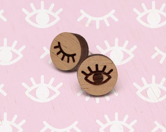 Dreamer - Wood Earring Studs with Sterling Silver posts - wooden eye - laser cut etched - womens ladies jewellery jewelry - nature blackwood