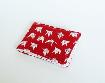 Card case, origami bird fabric, red and white cotton origami bird design, cotton case