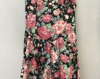 1980s Floral Print Drop Waist Sundress