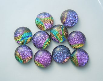 Dichroic Fused Glass - Jewelry Findings - Small Glass Beads -  Beads - Dichroic Cabochons - Dichroic Beads - DIY- Cabochon 4509