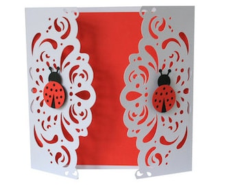 Ladybug Lace Card , Blank inside , Spring , Gate Closure , Red , Summer , Friend , Family , Papercut