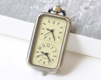 1 PC Time Zone Rectangle Pocket Watch Pendant Gift 27x57mm A8509