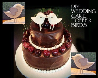 DIY - WEDDING Cake TOPPER - Two In Love Sweet Little Birds with Heart Wings -  Saying I Love You - Ready to finish Your Way