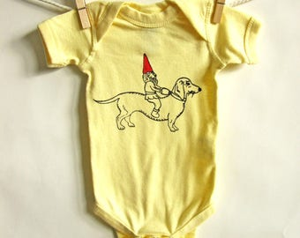Dachshund and Gnome Short Sleeved Cotton Infant Onesie, Infant One Piece, Baby Gift, Baby Body Suit, Romper, Hand Screen Printed, NB- 24Mo.