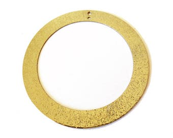 1 x 45mm brushed silver hollow round pendant gold