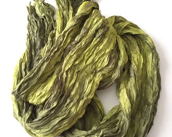 """Chartreuse Silk Scarf Hand Dyed Gray Silver Fiber Art Unisex OOAK from """"Textured Silks"""" Collection"""