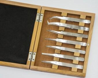 Tweezers set wood box watchmakers jewellers stainless steel craft tools repair