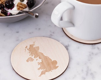 Personalised Map Drinks Coaster - Engraved Map - Map Coaster - Wooden Coaster - Gift for Wedding - Homecoming Gift - Long Distance Love Gift