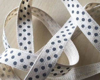 "decorative Ribbon: ""grey dots"" on an ecru mottled background"