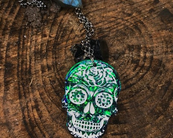 Sugar Skull Floral Pendants