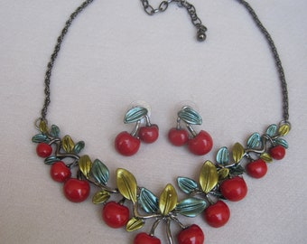 Fresh &  Subtle Red Cherry Necklace with Matching Earrings