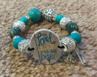 The Lord Will Fight for You Bracelet Blue & Silver