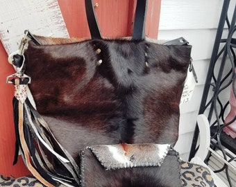 Full cowhide double strap shoulder bag