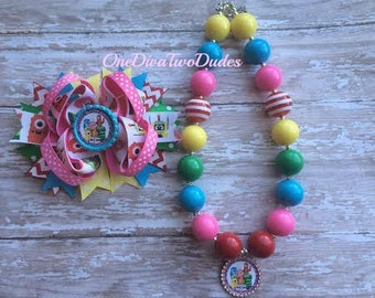 Yo gabba gabba chunky necklace hair bow set