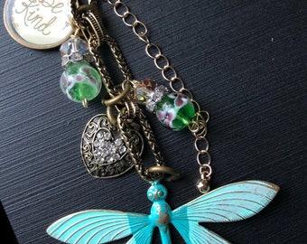 Spa green dragonfly. Handmade, Handbag Jewelry  by local designers