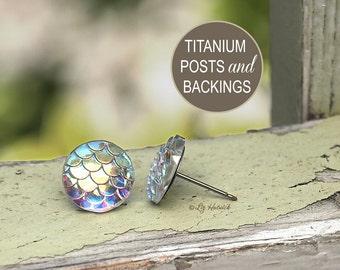 Mermaid Stud Earrings on Titanium Posts, Shimmery Iridescent Earrings, 12mm