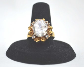 Engagement Ring, Crystal Ring, CZ Engagement Ring, Gold Ring, Vintage Engagment Ring, Promise Ring, Size 7 Ring