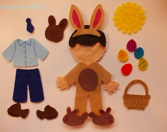 SHOP CLOSING SALE  - Felt Doll Outfit Easter Boy Doll Dress Up Set Without Doll
