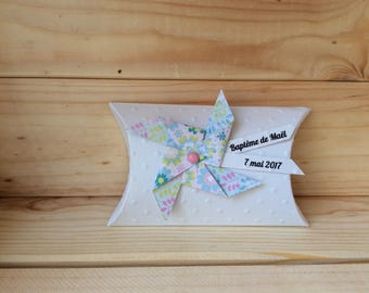 Box dragees, mill to wind, baptism, flower guest gift