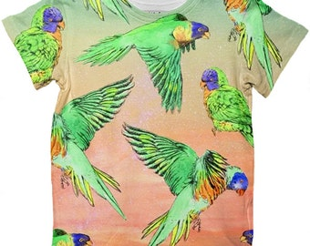 Kids t-shirt top | Australian Rainbow Lorikeet bird pattern | Unisex boys & girls | Great for twinning matching mum-and-me