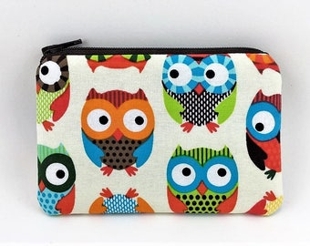 Owl Coin Purse - Mini Zipper Pouch - Gifts for Owl Lovers - Small Change Purse - Coin Pouch Wallet - Cute Gifts for Friends