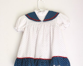 vintage toddler girl's dress 2t 3t red white and blue polka dots