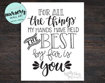 Nursery Print, Hand lettered, Digital Download, Print at Home